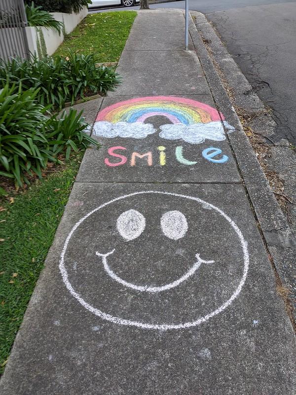 """Smile"" chalk drawing, lockdown chalk art"