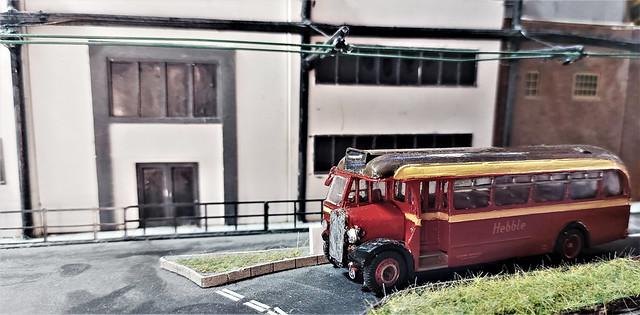 Hebble Bus in Bradford Under The Trolleybus Wires