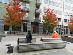 Gzim och den frusna sjön. Av Knutte Wester. Täby centrum.