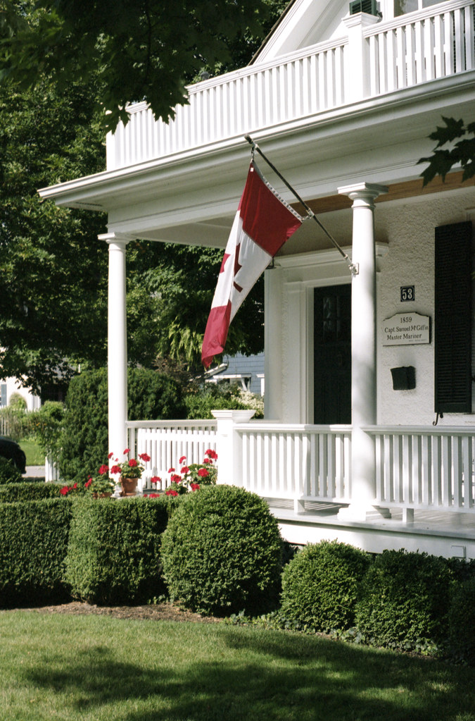 Canadian Flag on White Porch