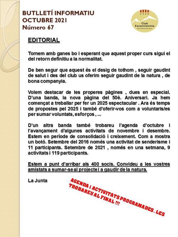 Butlletí 67 - Octubre 2021