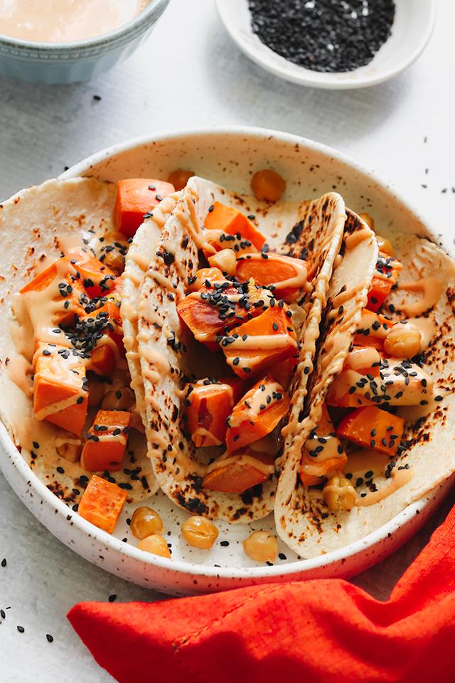 Roasted Sweet Potato and Chickpea Tacos with Spicy Sriracha Hoisin Mayo