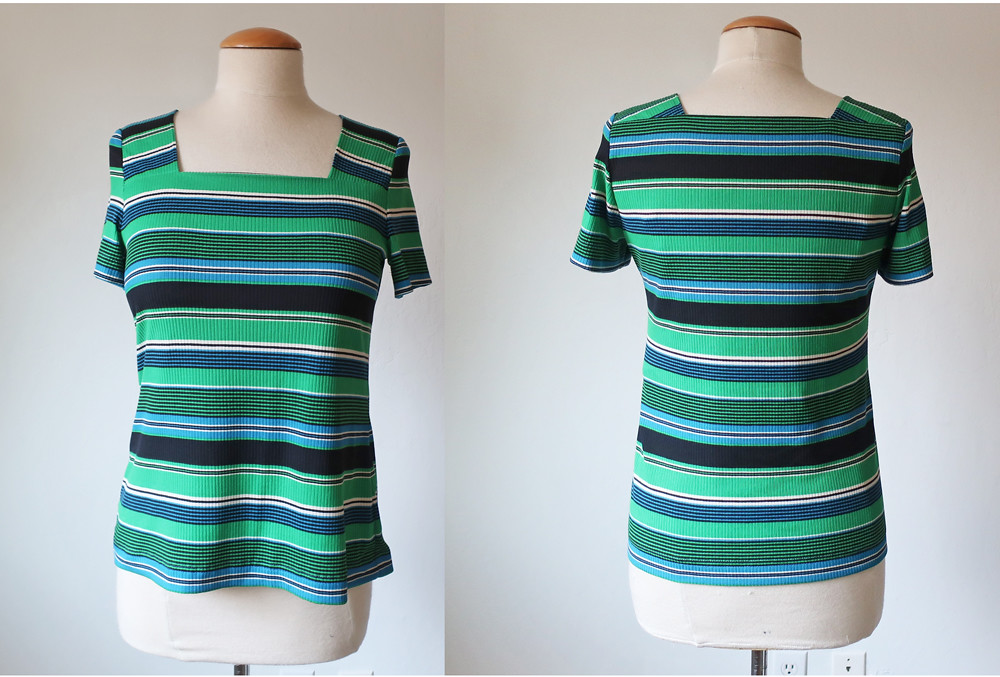 green stripe T front and back