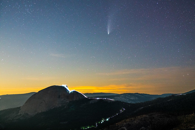 Comet NEOWISE over Half Dome