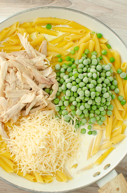 Overhead shot of ingredients for one pot chicken alfredo with peas