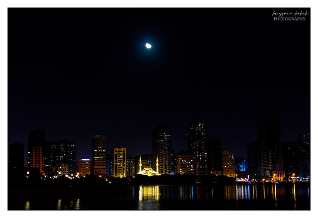 Beautiful night view of Al Noor Mosque with Full moon