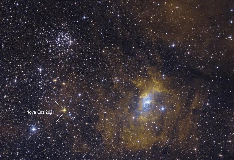 Ágoston Zsolt - NGC 7635 Buborék-köd, M52 és Nova Cas 2021 - VCSE