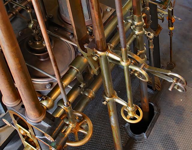 Steam engine controls - London Museum of Water & Steam, Kew Bridge, London TW8.
