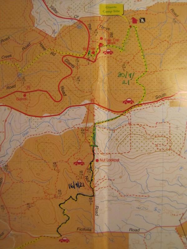 Track Map - Highway to Giants to Nut Lookout Return Walks, Bibbulmun Track, South Coast, Western Australia