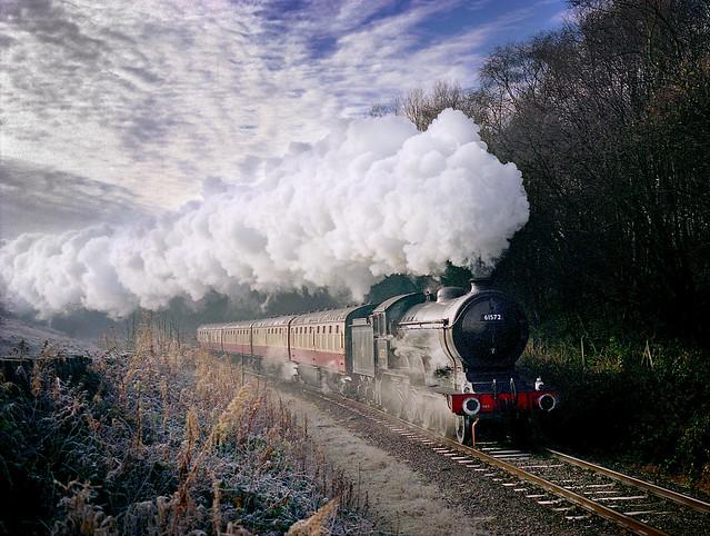 Class B12 61572 works through Lumb Wood under a mackeral sky,.....Re-scan.