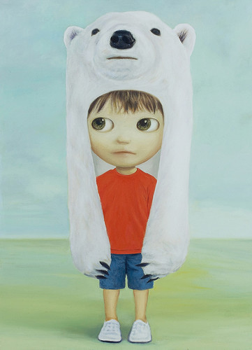 Little Polar Bear Boy, Oil on canvas17.9 x 13.1. From Artist Spotlight: Mayuka Yamamoto