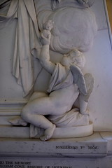 cherub with a flaming heart, detail of memorial to Jane Coke, 1805
