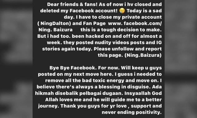 Ning Baizura Terpaksa Nyahaktif Facebook Selepas Hacker Muat Naik Gambar Tak Senonoh