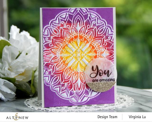 Altenew-Diamond Mandala 3D Embossing Folder-Floral Holo Stamp & Die Bundle -001