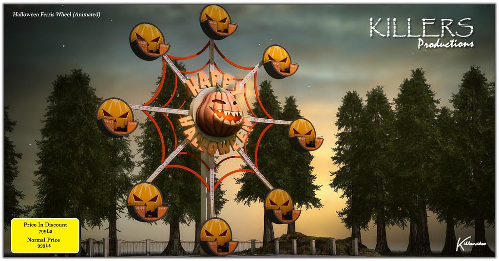 """Killer's"" Halloween Ferris Wheel On Discount @ Secondlife Hop & Shop 2021 Event Starts from 1st October"