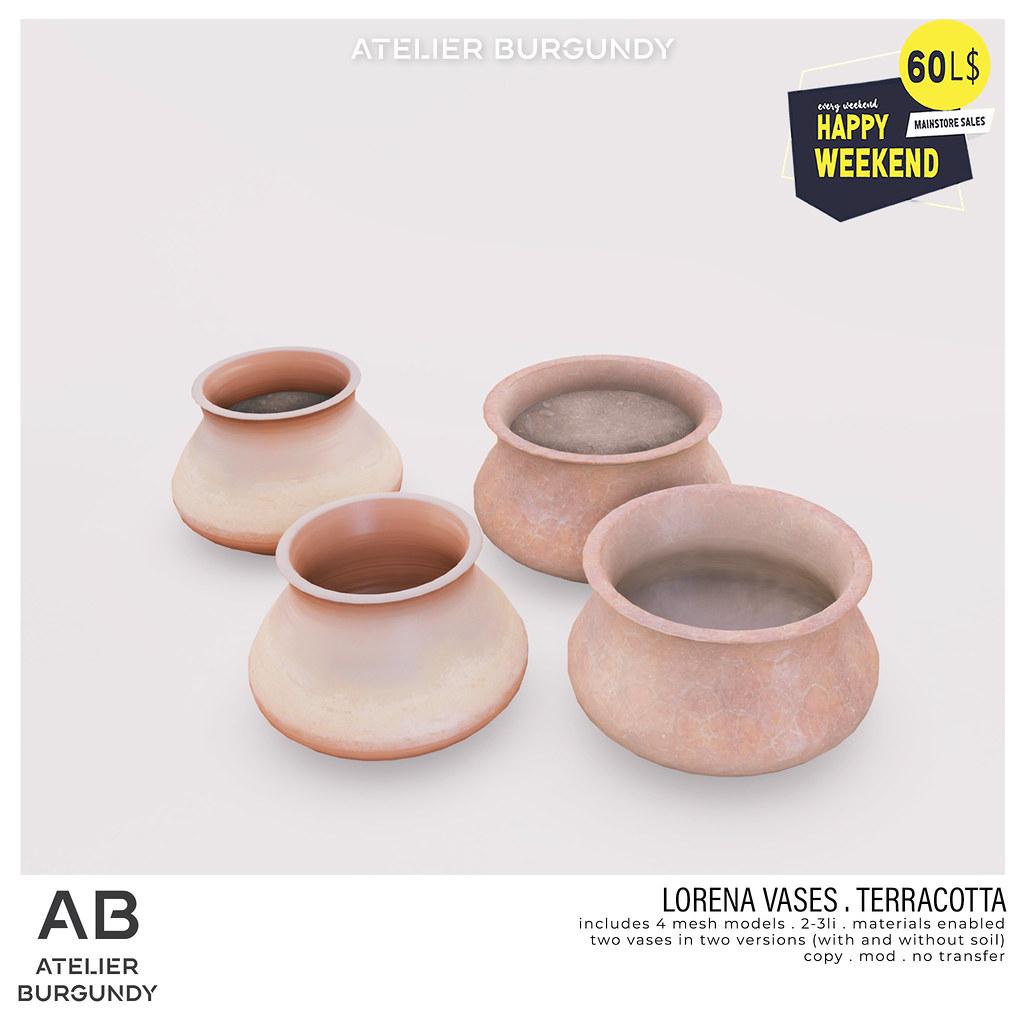 Atelier Burgundy . Lorena Vases Terracotta HW