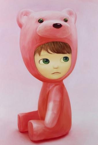 Sitting Pink Bear Boy, Oil on canvas 51.3 x 35.2 From Artist Spotlight: Mayuka Yamamoto