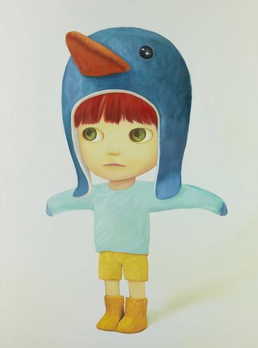 Flapping Penguin Boy, Oil on canvas 51.3 x 35.2. From Artist Spotlight: Mayuka Yamamoto