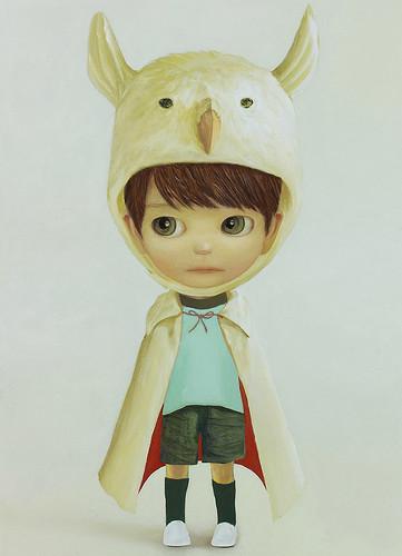 Little King Owl, Oil on canvas 17.9 x 13.1. From Artist Spotlight: Mayuka Yamamoto