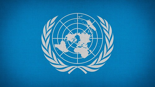 UN flag. From Women's Human Right to Education in Afghanistan