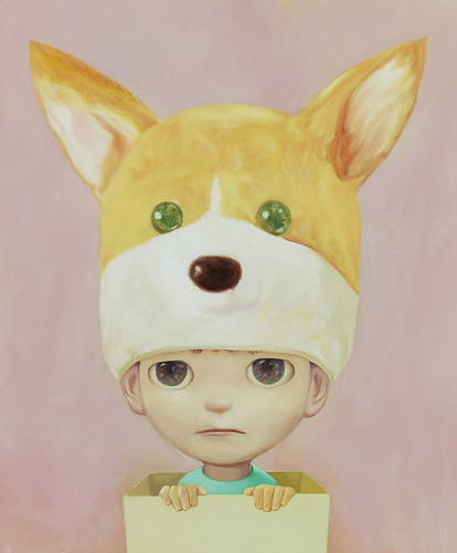 Little Dog Boy in Box, Oil on canvas 17.9 x 13.1. From Artist Spotlight: Mayuka Yamamoto