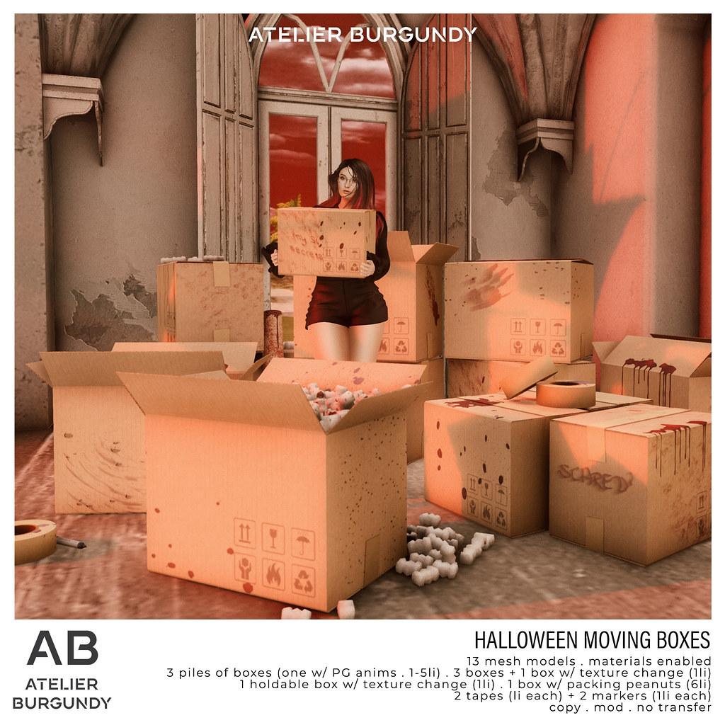Atelier Burgundy . Halloween Moving Boxes