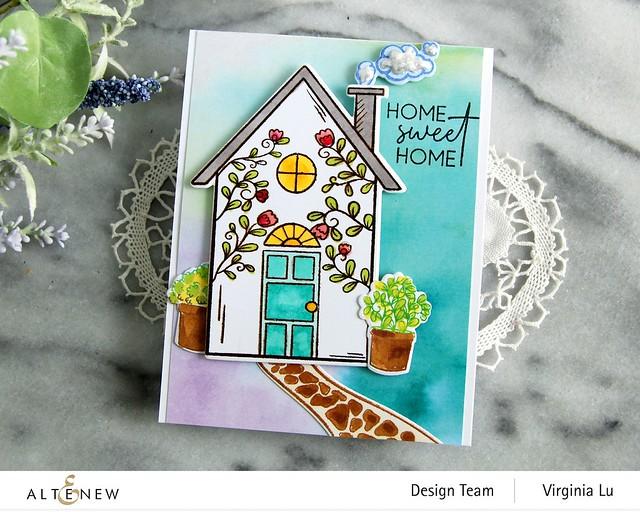 Altenew-HomeSweet Home Stamp & Die Bundle-Gel Printing Soft Washes 6x6 Paper Pack (4)