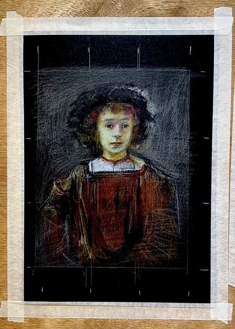 Continuation stage 3. A study of a painting by Rembrandt of his son. To be continued.