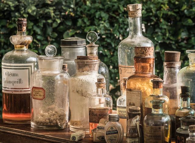 Old bottles and jars at a Flea market