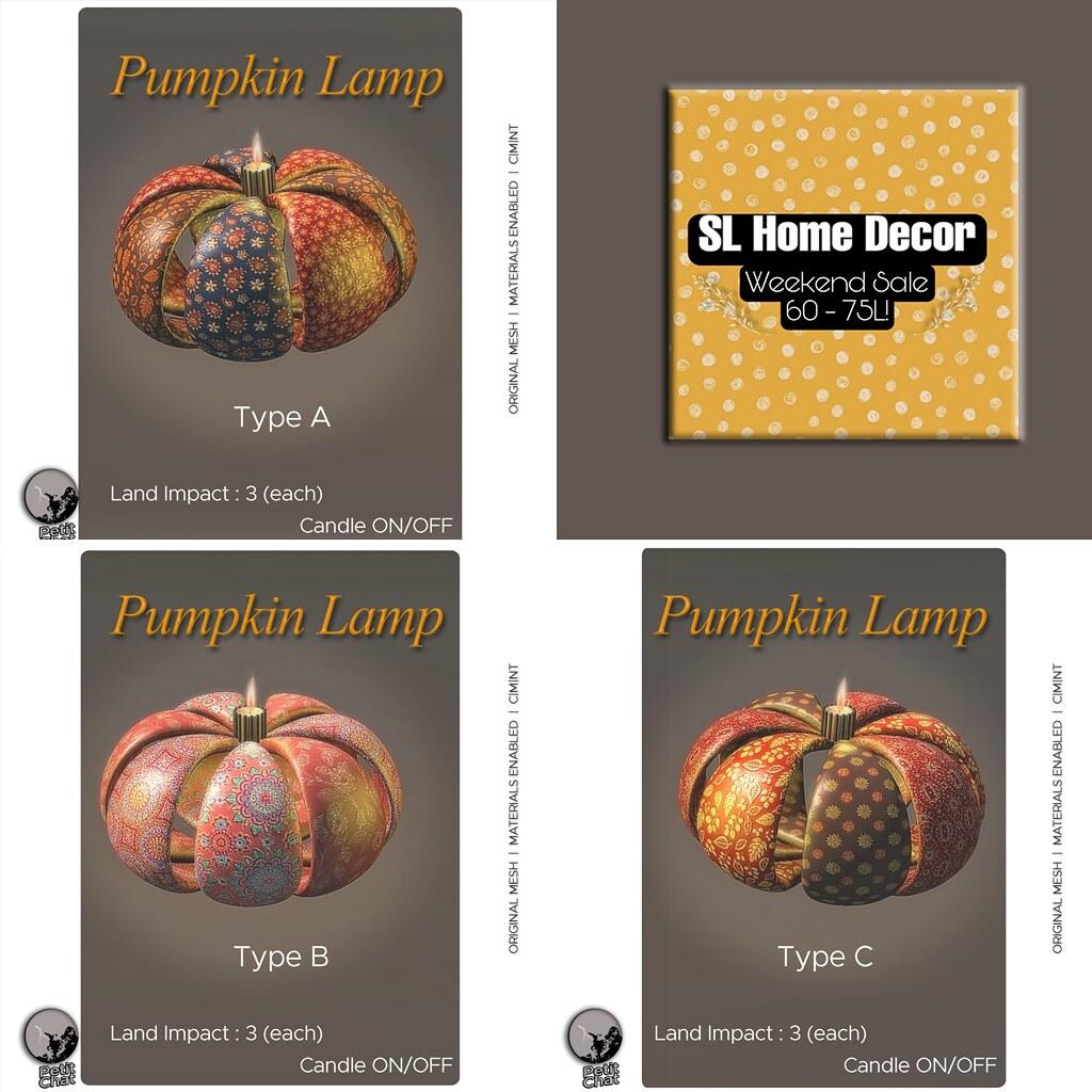 Petit Chat : Pumpkin Lamps @ SL Home & Decor weekly Sale