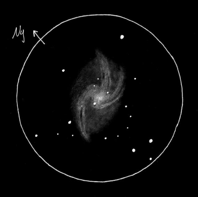 VCSE - Az M33 vizuális látványa 457/1900-as Dobson-távcsőben - Rajz: Fröhlich Viktória