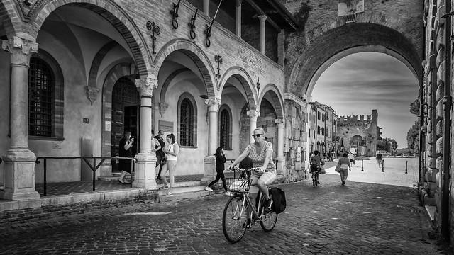 The ancient triumphal arch of Emperor Augustus in Fano, Pesaro-Urbino province, Marche, Italy.
