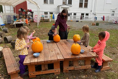 pounding T's into pumpkins