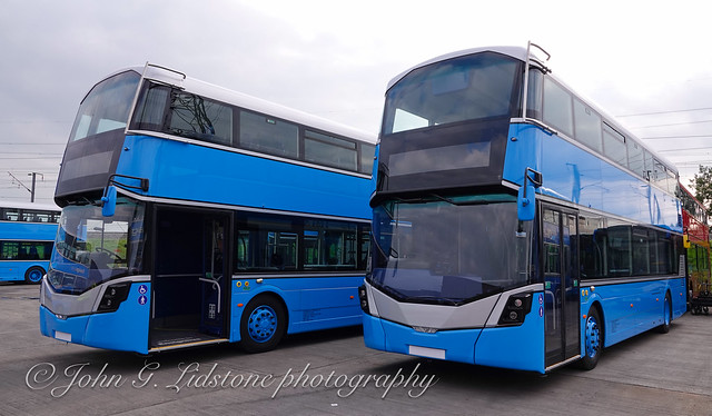 Just after delivery, brand new Ensignbus Wright StreetDecks 168, 174 LX71 AOB, AOJ