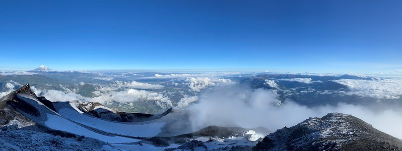 The Crater, the Summit of the Active and Mighty Stratovolcano 'Tungurahua' ('Throat of Fire' volcano) at 5,023 meters (16,479 feet) above sea level, Baños, the Central Highlands, Ecuador.