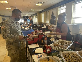 Bake Crafter's Military Sales representive explains French Toast to customer at Fort Hood