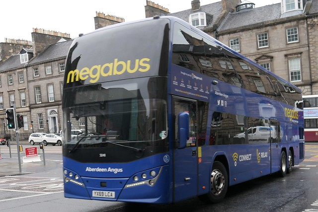 Stagecoach West of Scotland Volvo B11RLET Plaxton Panorama YX69LCA 50411, new in October 2019, in Megabus branding and named Aberdeen Angus, operating service M20 to London at Elder Street prior to entering Edinburgh Bus Station on 30 September 2021.
