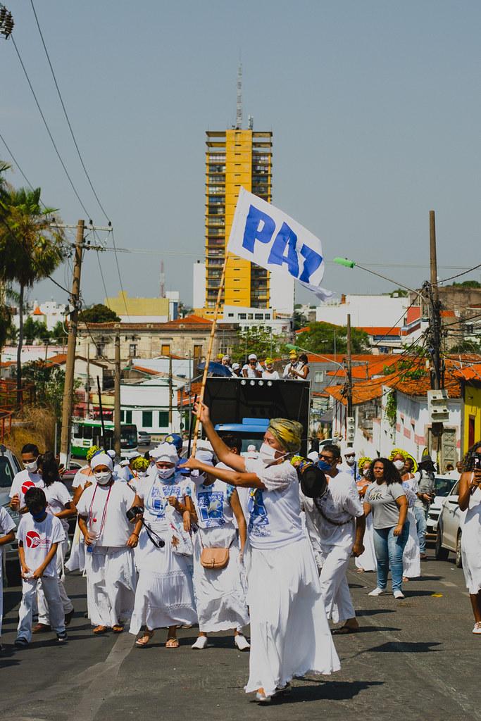 """""""Lavagem das Escadarias da Igreja de Nossa Senhora do Rosário e São Benedito"""", Cuiabá, Mato Grosso, Brasil. 02 de outubro de 2021."""