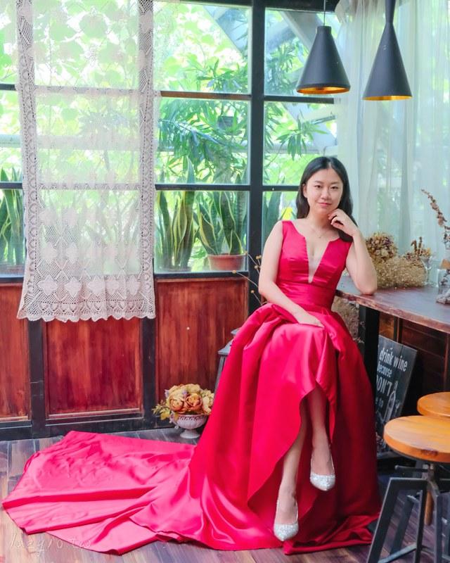紅裙婚鞋搭配