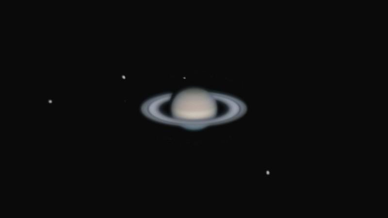 土星と衛星(ディオネ、テティス、ミマス、エンケラドゥス、レア) (2021/10/3 20:10)