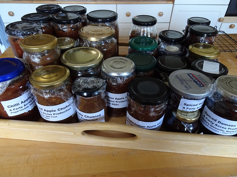 Friday Chutney Lidded and Labelled: Total tally 29 jars