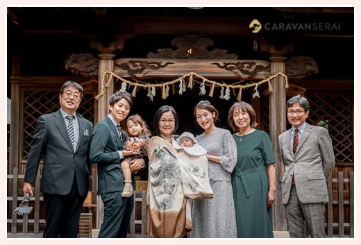 深川神社でお宮参り 家族・親族の集合写真 愛知県瀬戸市