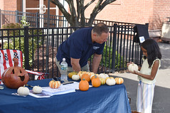 State Rep. Craig Fishbein looks on as a child picks out a free mini pumpkin courtesy of Geremia Farms.  People were also able guess the weight of a pumpkin to win a tour of the state capitol during the annual Celebrate Wallingford festival on October 2nd.