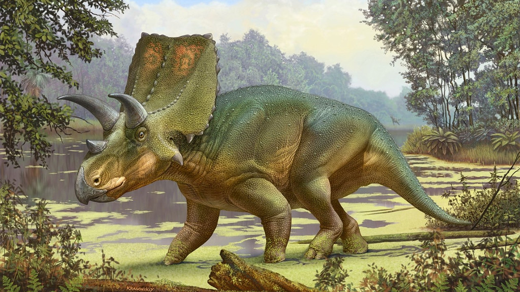 Artist's impression of Sierraceratops in a swamp