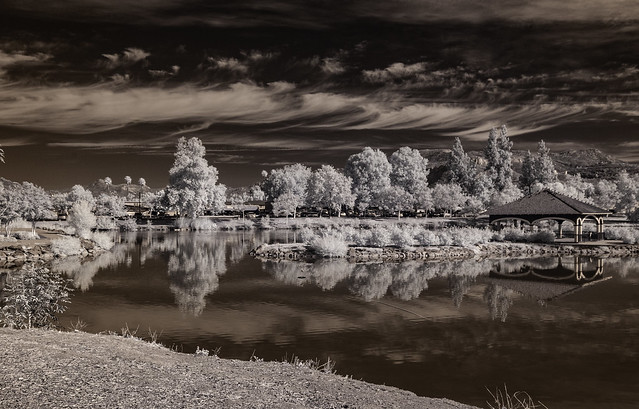 Beautiful October Clouds Over Lindo Lake - Infrared