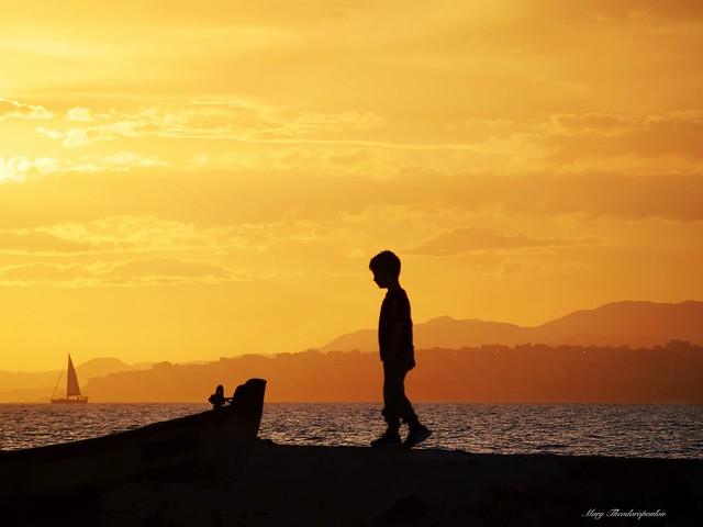 Sunset walking