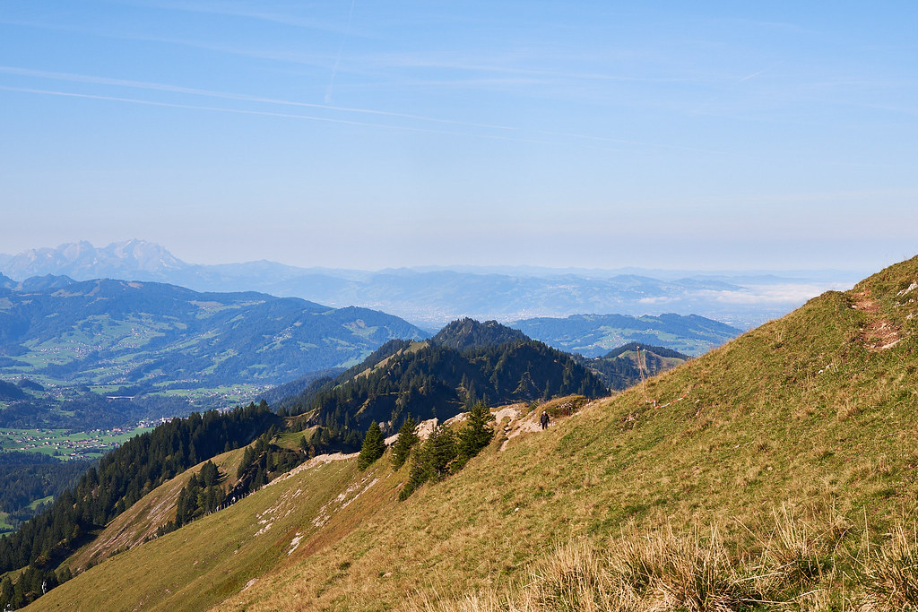 Look from Hochgrat at the Säntis mountain and Lake Constance (covered with mist).