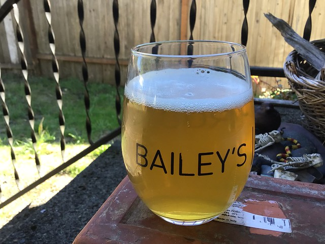 Humble Sea brewing's Used Car Salesman pale ale, in glass outside.