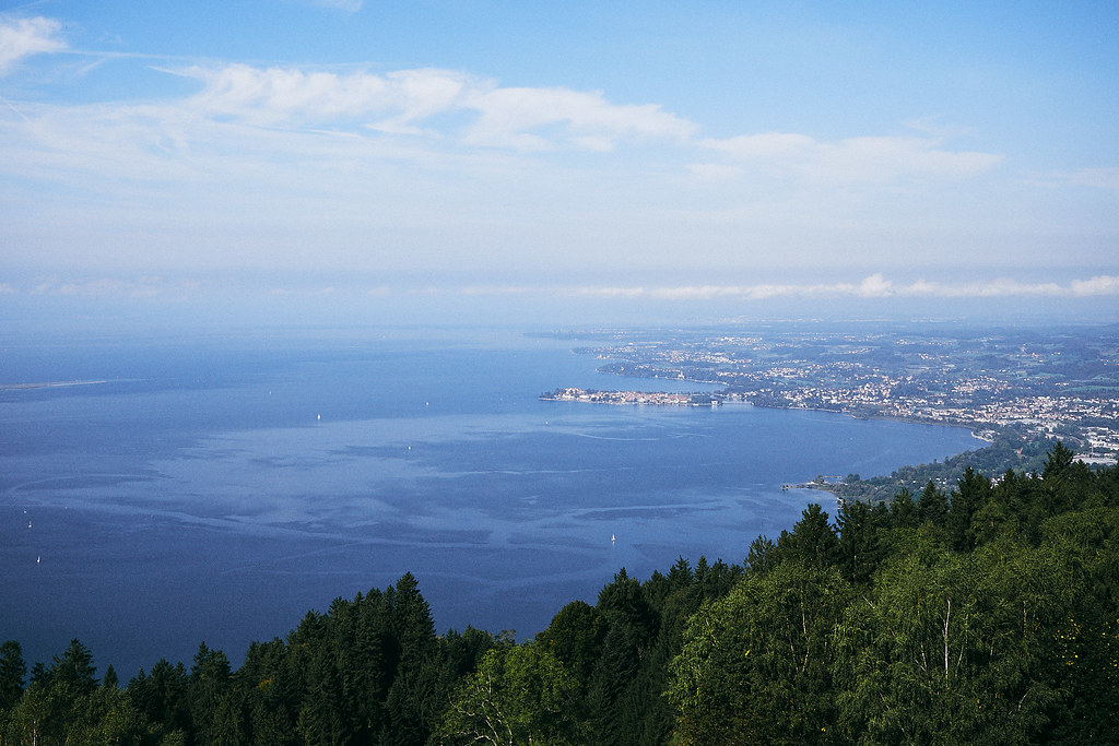 Look from Bregenz (top perspective from mountain) onto Lake Constance. In the foreground the forest, from the left side the lake spans across the image and on the right the cities directly at the lake are visible.