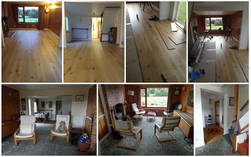 New flooring in the lounge, dining area and entrance hall - before, during & after